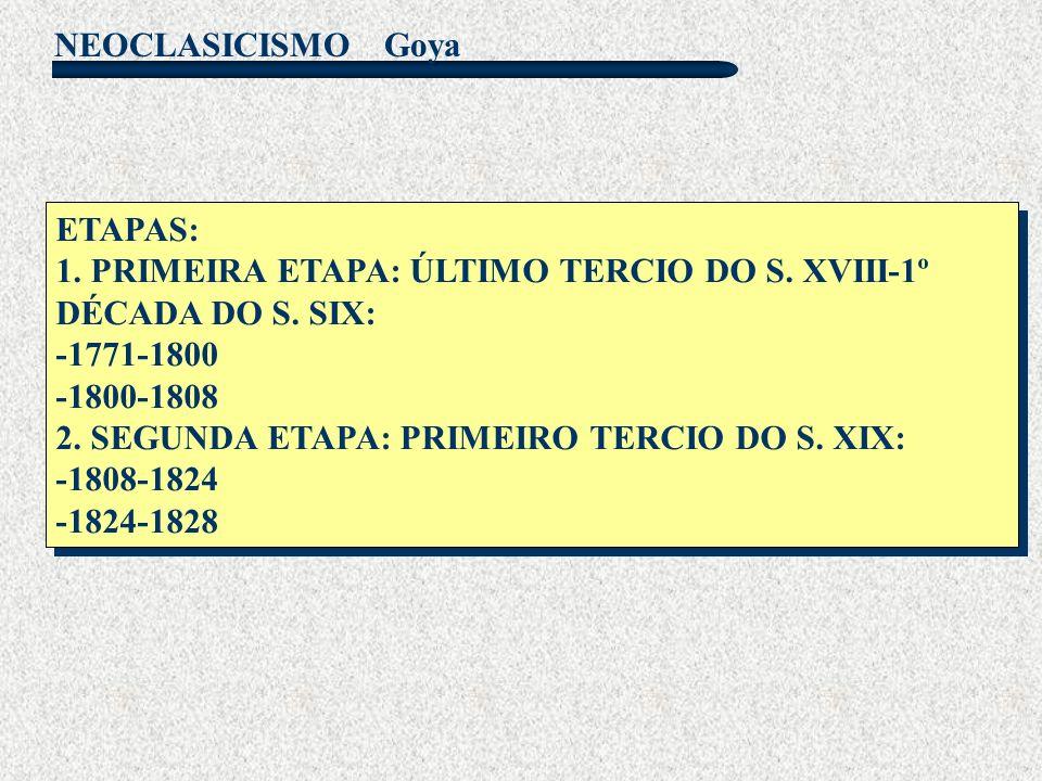 NEOCLASICISMO Goya ETAPAS: 1. PRIMEIRA ETAPA: ÚLTIMO TERCIO DO S. XVIII-1º DÉCADA DO S. SIX: -1771-1800 -1800-1808 2. SEGUNDA ETAPA: PRIMEIRO TERCIO D