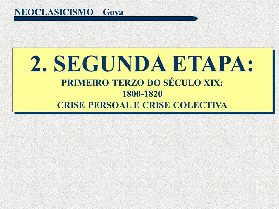 NEOCLASICISMO Goya 2. SEGUNDA ETAPA: PRIMEIRO TERZO DO SÉCULO XIX: 1800-1820 CRISE PERSOAL E CRISE COLECTIVA 2. SEGUNDA ETAPA: PRIMEIRO TERZO DO SÉCUL