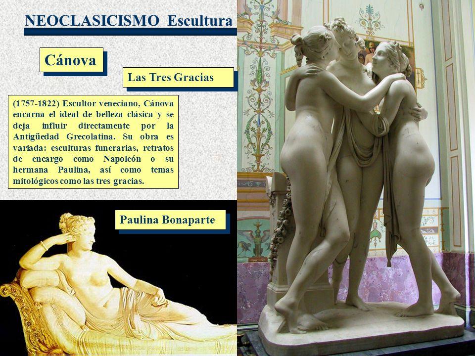 NEOCLASICISMO Escultura Cánova (1757-1822) Escultor veneciano, Cánova encarna el ideal de belleza clásica y se deja influir directamente por la Antigü