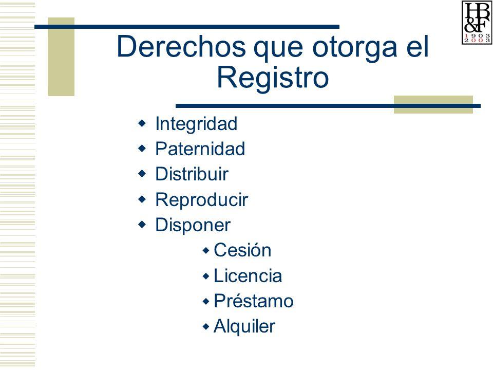 Derechos que otorga el Registro Integridad Paternidad Distribuir Reproducir Disponer Cesión Licencia Préstamo Alquiler