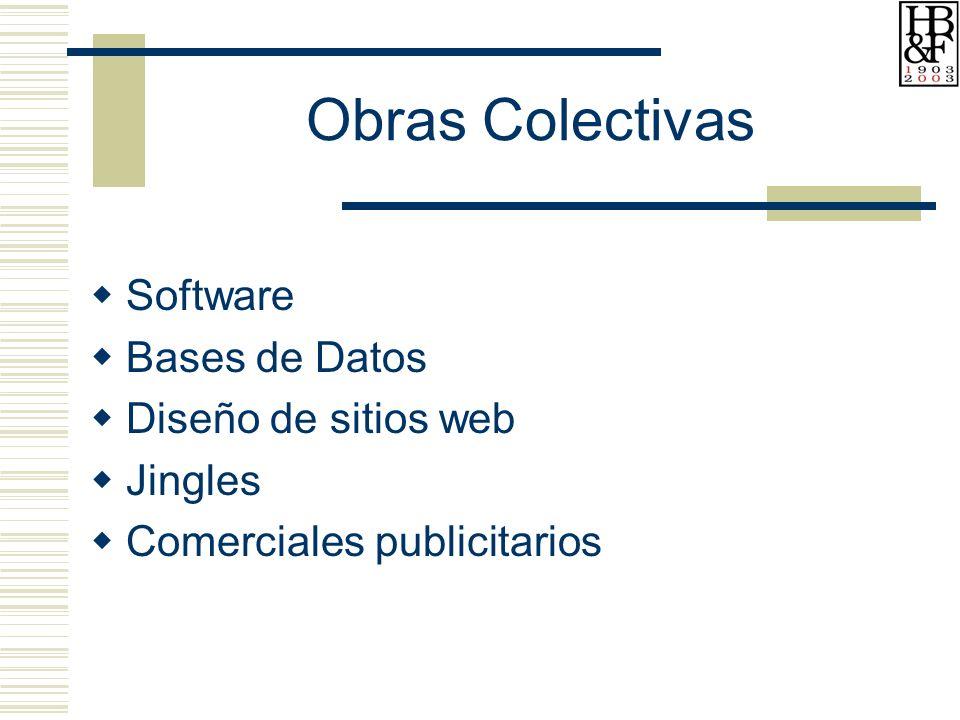Obras Colectivas Software Bases de Datos Diseño de sitios web Jingles Comerciales publicitarios