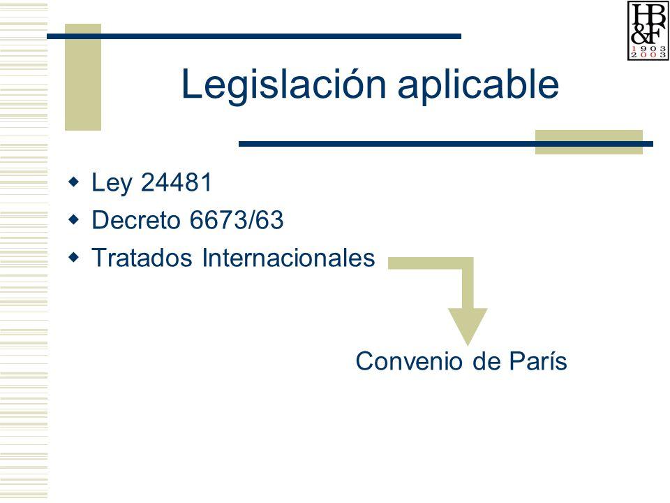 Legislación aplicable Ley 24481 Decreto 6673/63 Tratados Internacionales Convenio de París