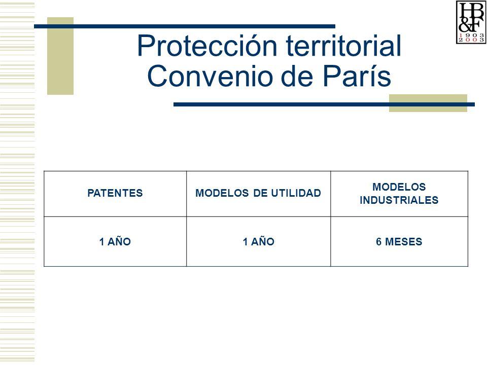 Protección territorial Convenio de París PATENTESMODELOS DE UTILIDAD MODELOS INDUSTRIALES 1 AÑO 6 MESES