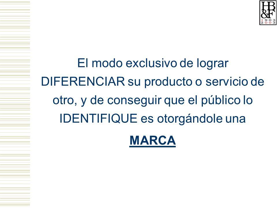 El modo exclusivo de lograr DIFERENCIAR su producto o servicio de otro, y de conseguir que el público lo IDENTIFIQUE es otorgándole una MARCA