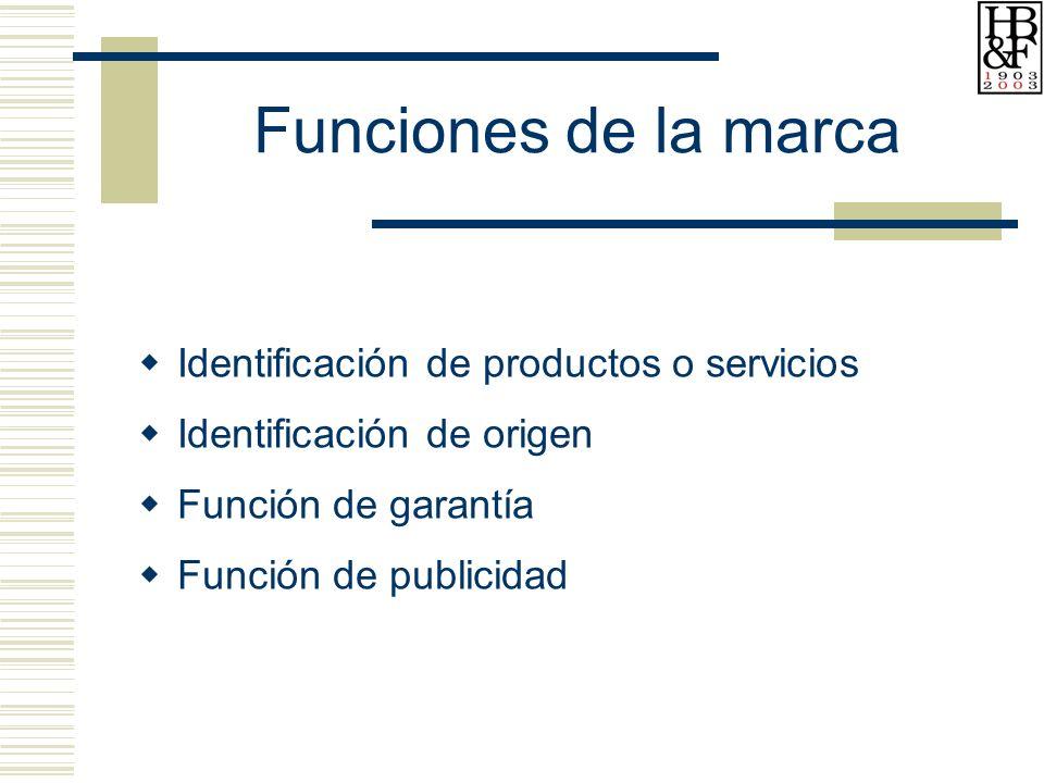 Funciones de la marca Identificación de productos o servicios Identificación de origen Función de garantía Función de publicidad