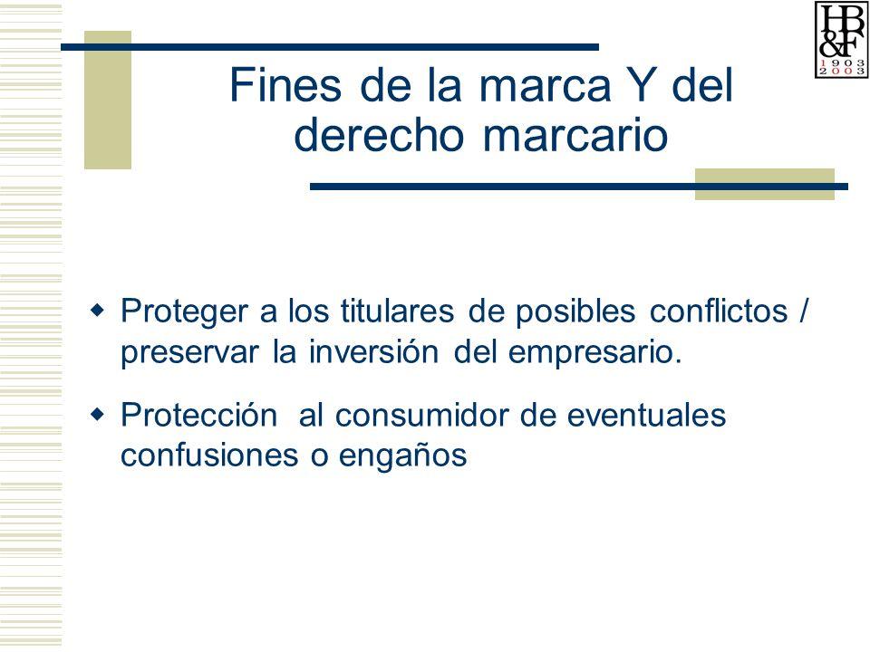 Fines de la marca Y del derecho marcario Proteger a los titulares de posibles conflictos / preservar la inversión del empresario.