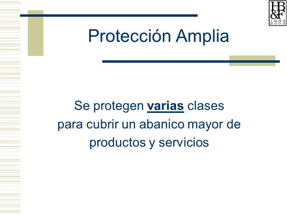 Protección Amplia Se protegen varias clases para cubrir un abanico mayor de productos y servicios