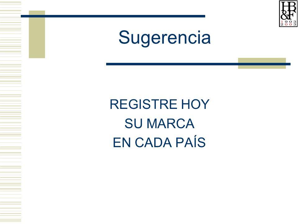 Sugerencia REGISTRE HOY SU MARCA EN CADA PAÍS