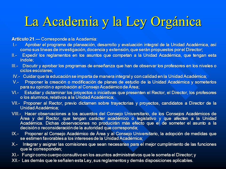 Artículo 20. Las Academias, que serán el órgano de mayor jerarquía en las Unidades Académicas, se integrarán por el Director que las presidirá, el Sec