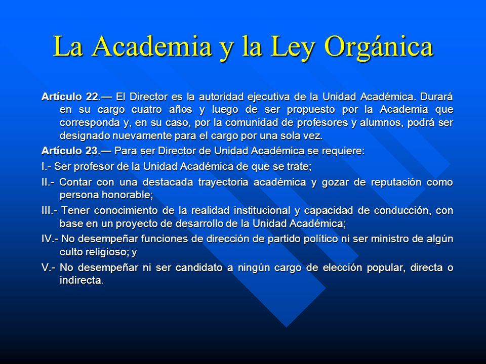 La Academia y la Ley Orgánica Artículo 21. Corresponde a la Academia: I.- Aprobar el programa de planeación, desarrollo y evaluación integral de la Un