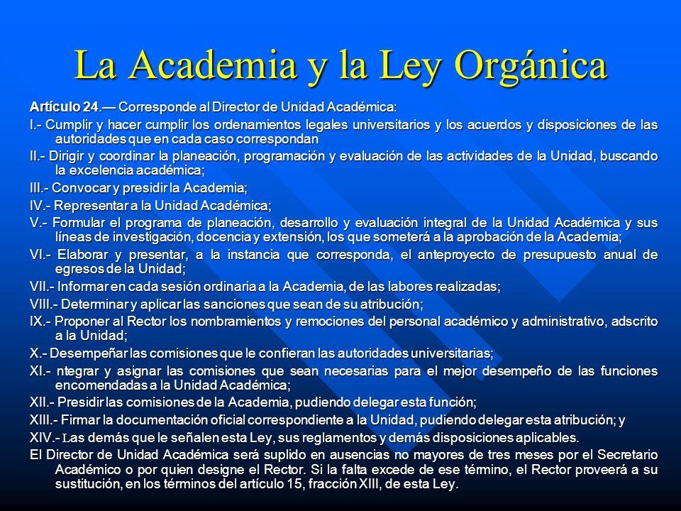 La Academia y la Ley Orgánica Artículo 22. El Director es la autoridad ejecutiva de la Unidad Académica. Durará en su cargo cuatro años y luego de ser