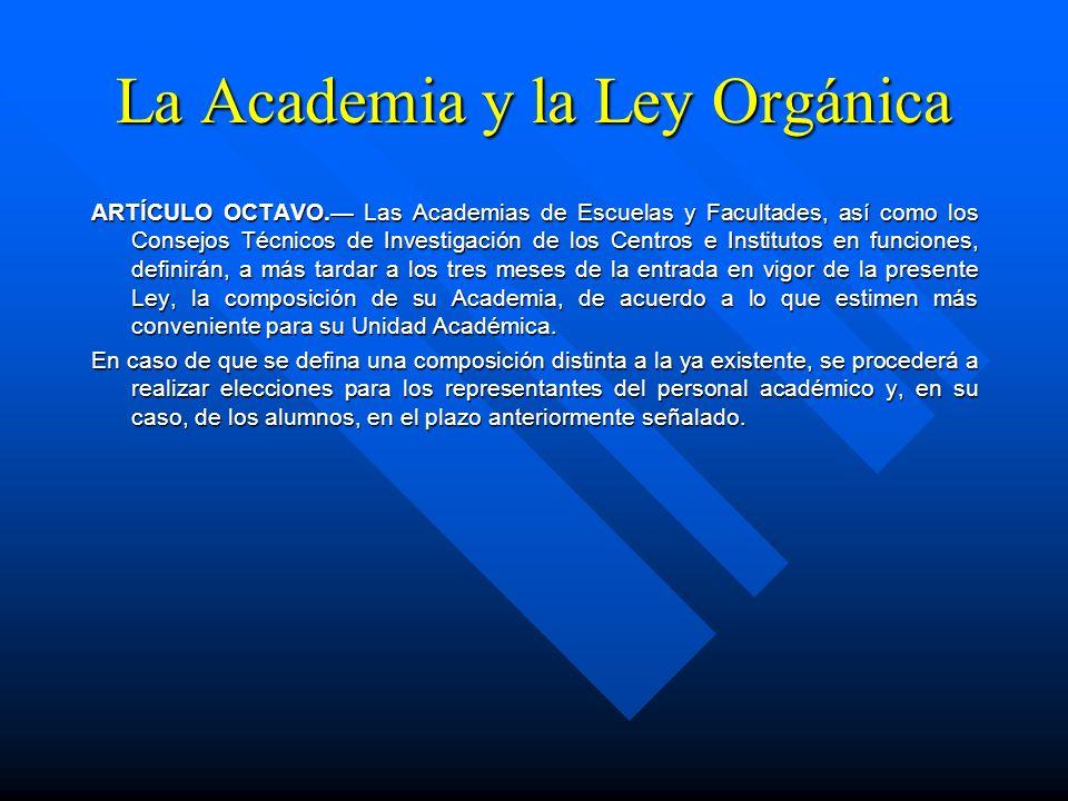 La Academia y la Ley Orgánica Artículo 24. Corresponde al Director de Unidad Académica: I.- Cumplir y hacer cumplir los ordenamientos legales universi