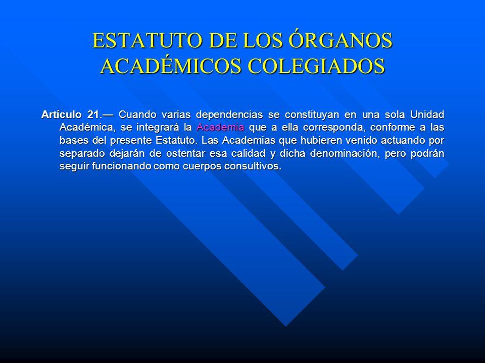 ESTATUTO DE LOS ÓRGANOS ACADÉMICOS COLEGIADOS Artículo 20. Las Academias se integrarán por el Director que las presidirá, el Secretario Académico, así