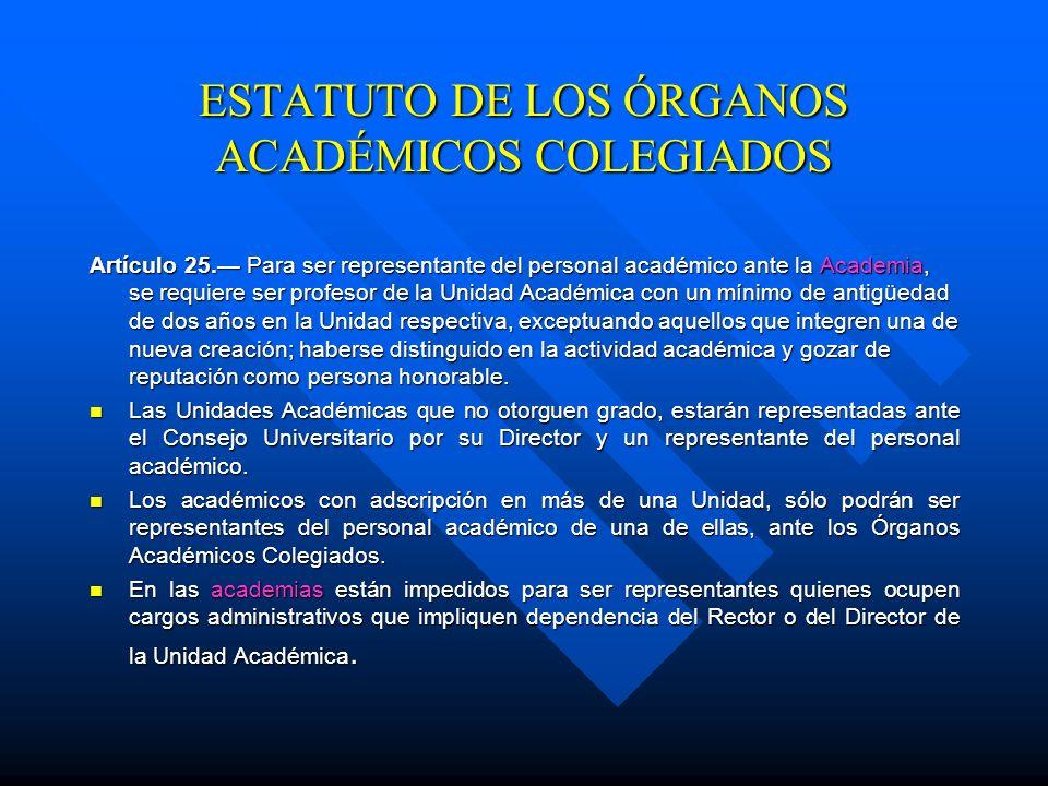 ESTATUTO DE LOS ÓRGANOS ACADÉMICOS COLEGIADOS Inducción a los Órganos Académicos Colegiados Artículo 22. Antes de protestar sus cargos, los miembros e