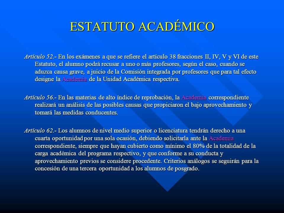 ESTATUTO ACADÉMICO Artículo 46.- Habrá dos escalas para calificar los exámenes. La cuantitativa y la cualitativa. En la primera de ellas será de 5 a 1