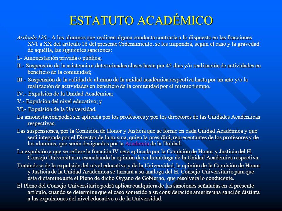 ESTATUTO ACADÉMICO Artículo 106.- Los cursos de actualización, en los términos que determine la Academia respectiva, ofrecerán la renovación y ampliac