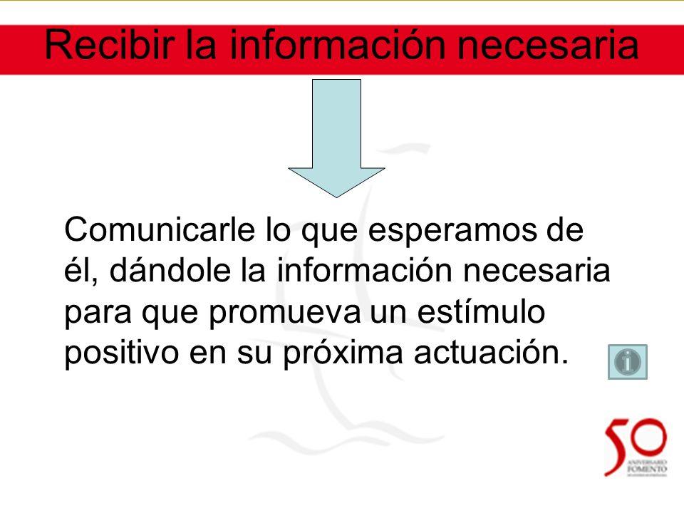 Recibir la información necesaria Comunicarle lo que esperamos de él, dándole la información necesaria para que promueva un estímulo positivo en su próxima actuación.