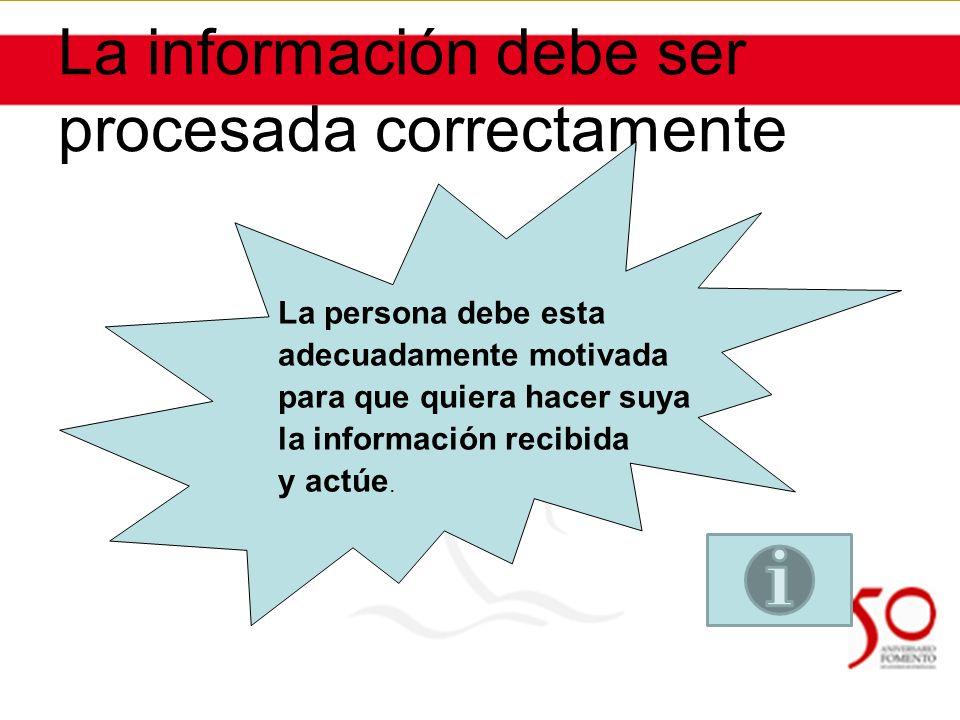 La información debe ser procesada correctamente La persona debe esta adecuadamente motivada para que quiera hacer suya la información recibida y actúe.