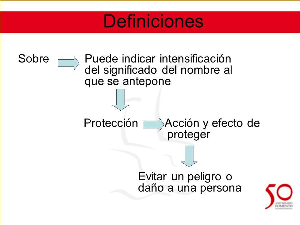 Definiciones Sobre Puede indicar intensificación del significado del nombre al que se antepone Protección Acción y efecto de proteger Evitar un peligro o daño a una persona