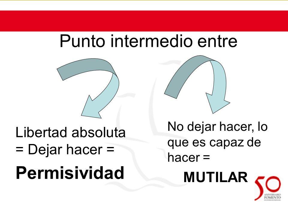 Punto intermedio entre Libertad absoluta = Dejar hacer = Permisividad No dejar hacer, lo que es capaz de hacer = MUTILAR