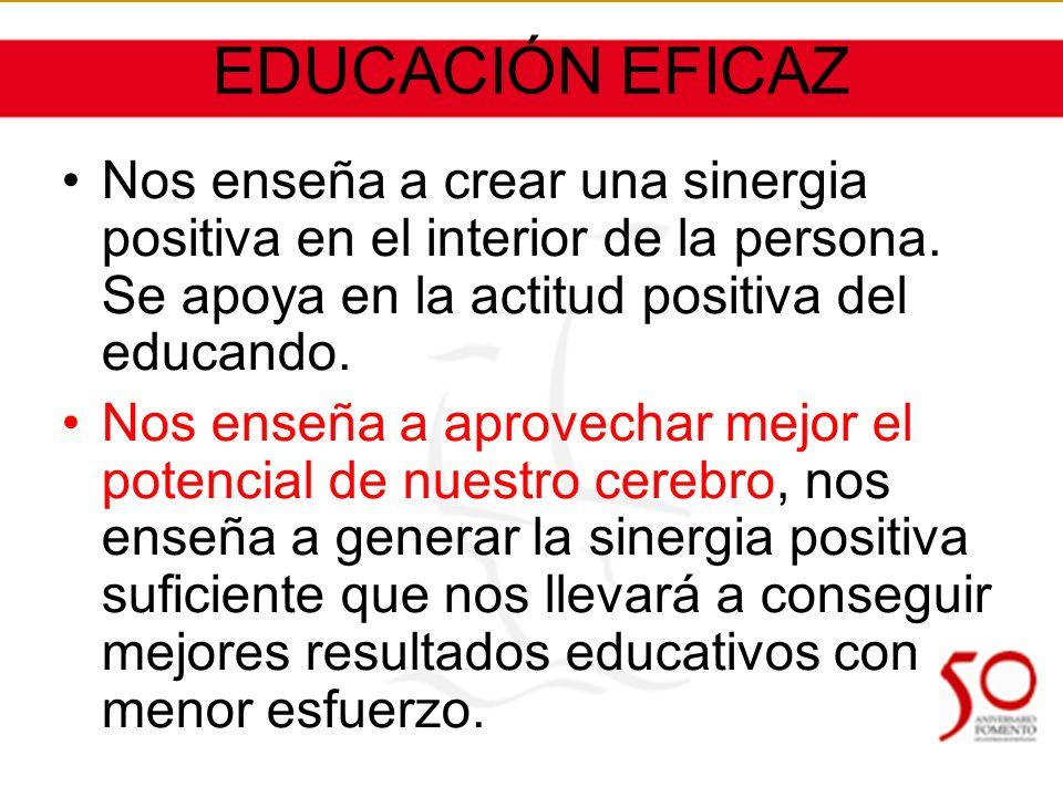 EDUCACIÓN EFICAZ Nos enseña a crear una sinergia positiva en el interior de la persona.