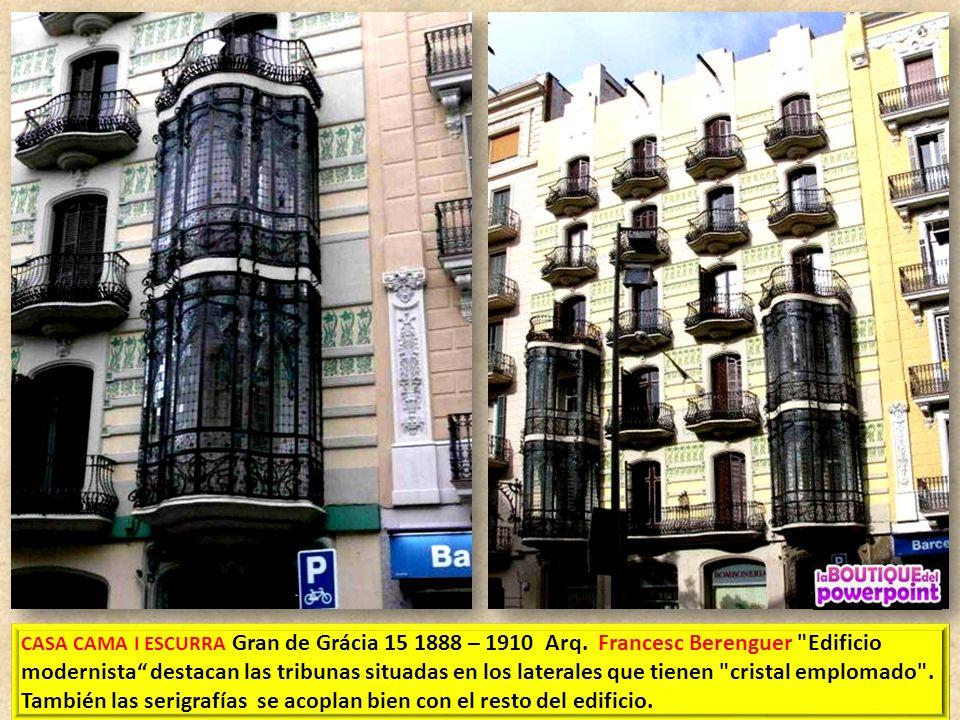GRAN DE GRÁCIA 77 Arq. Francesc Berenguer. Detalle del Sotabalcons (debajo balcones)
