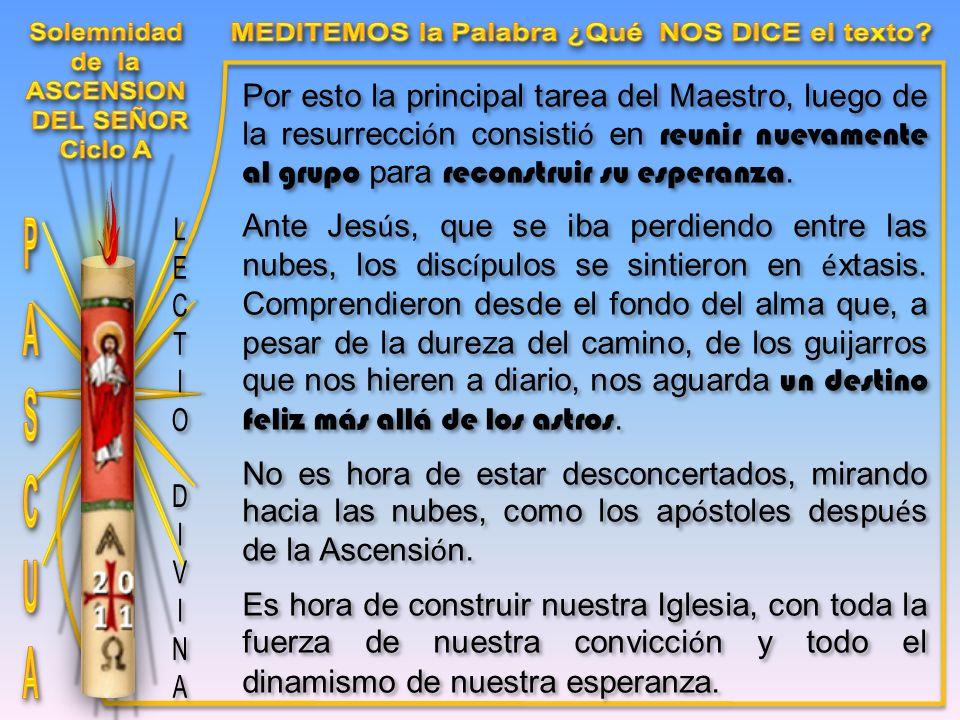 Por esto la principal tarea del Maestro, luego de la resurrecci ó n consisti ó en reunir nuevamente al grupo para reconstruir su esperanza.