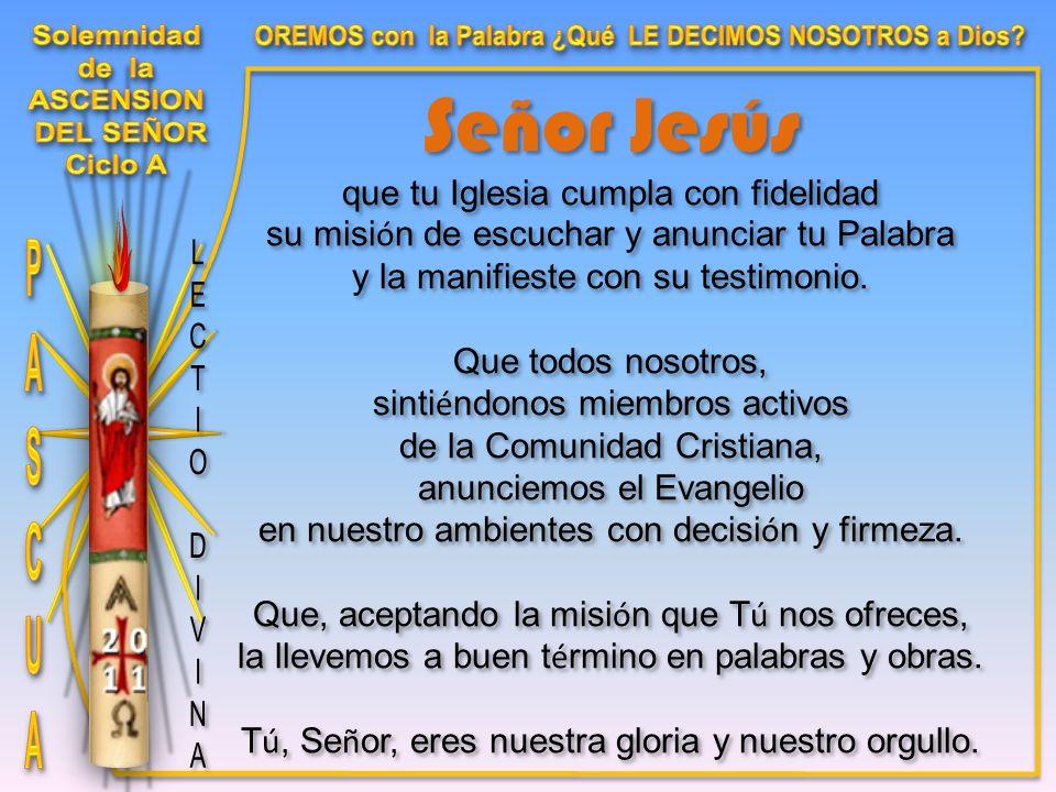Señor Jesús que tu Iglesia cumpla con fidelidad su misi ó n de escuchar y anunciar tu Palabra y la manifieste con su testimonio.