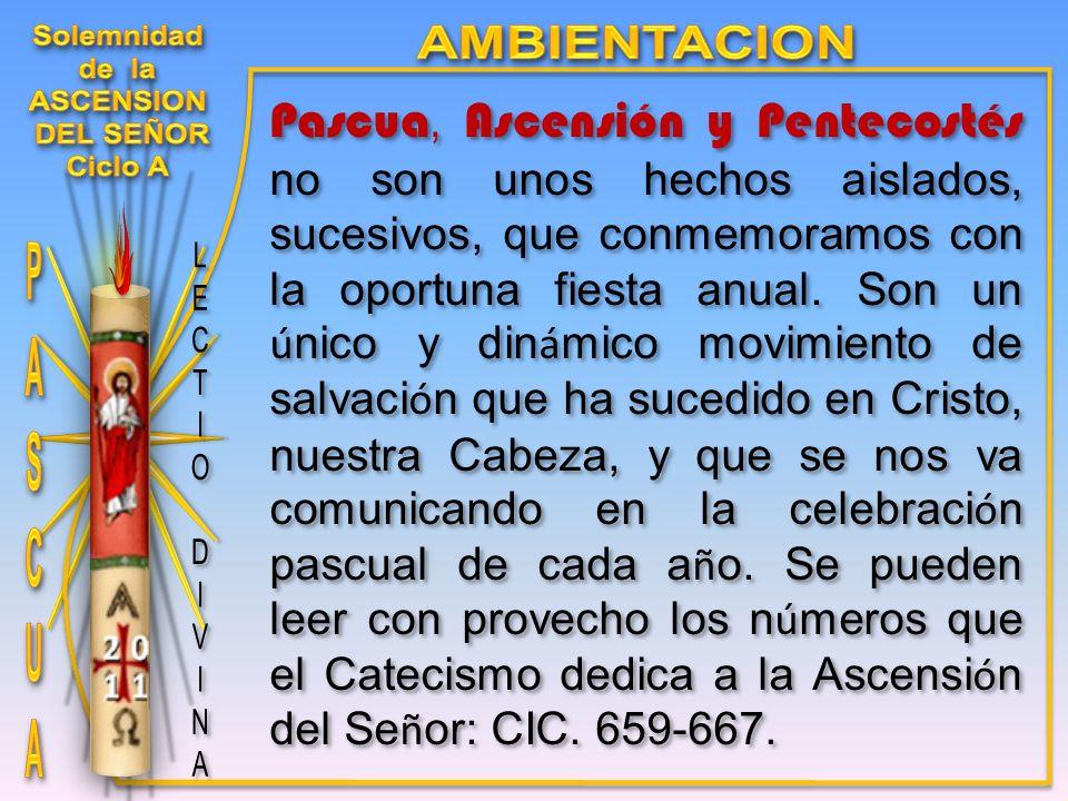 Pascua, Ascensión y Pentecostés no son unos hechos aislados, sucesivos, que conmemoramos con la oportuna fiesta anual.