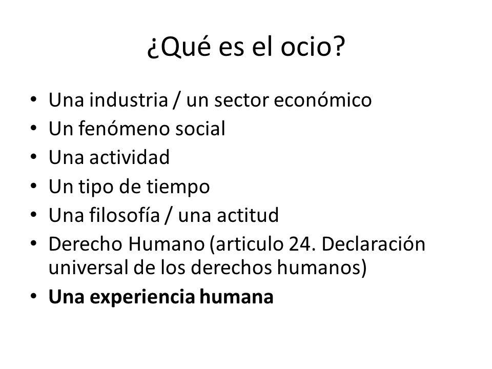 ¿Qué es el ocio? Una industria / un sector económico Un fenómeno social Una actividad Un tipo de tiempo Una filosofía / una actitud Derecho Humano (ar