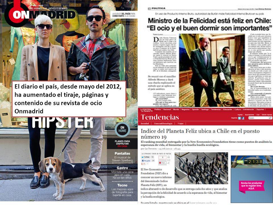 El diario el país, desde mayo del 2012, ha aumentado el tiraje, páginas y contenido de su revista de ocio Onmadrid