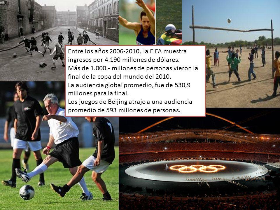 Entre los años 2006-2010, la FIFA muestra ingresos por 4.190 millones de dólares. Más de 1.000.- millones de personas vieron la final de la copa del m