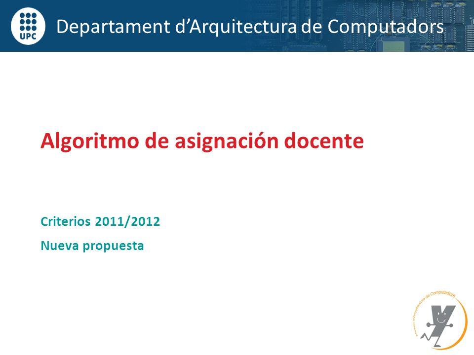 Departament dArquitectura de Computadors Criterios 2011/2012 Nueva propuesta Algoritmo de asignación docente
