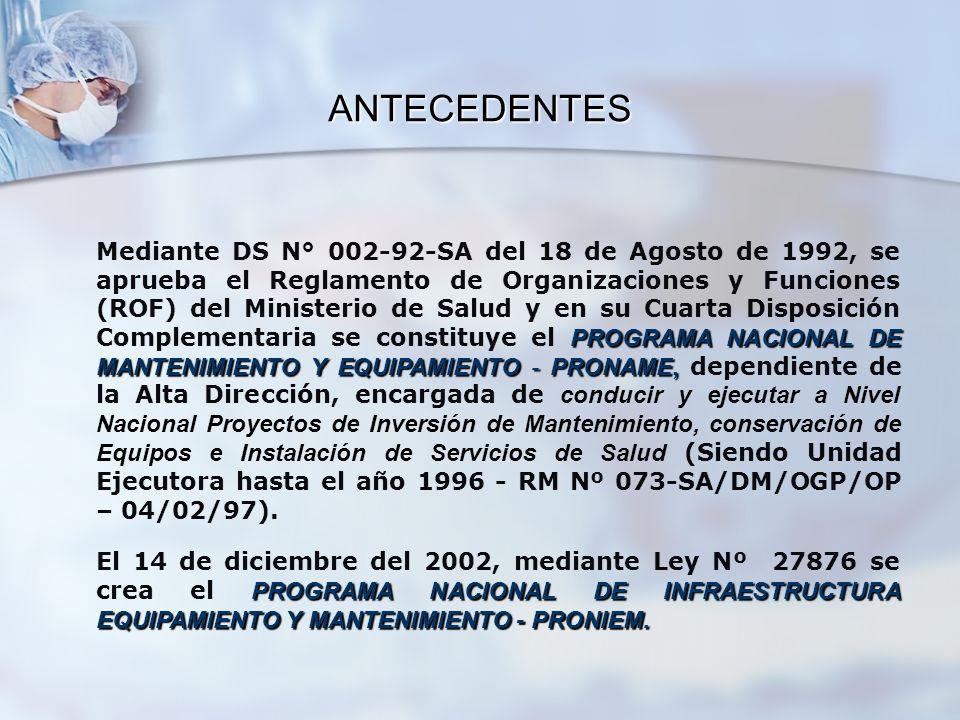 PROGRAMA NACIONAL DE MANTENIMIENTO Y EQUIPAMIENTO - PRONAME, Mediante DS N° 002-92-SA del 18 de Agosto de 1992, se aprueba el Reglamento de Organizaci