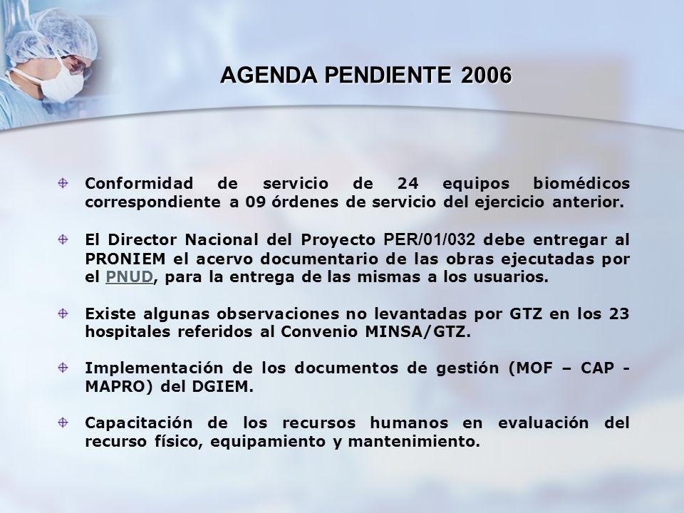 AGENDA PENDIENTE 2006 Conformidad de servicio de 24 equipos biomédicos correspondiente a 09 órdenes de servicio del ejercicio anterior. PNUD PNUD El D