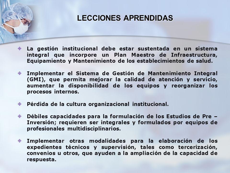 LECCIONES APRENDIDAS La gestión institucional debe estar sustentada en un sistema integral que incorpore un Plan Maestro de Infraestructura, Equipamie