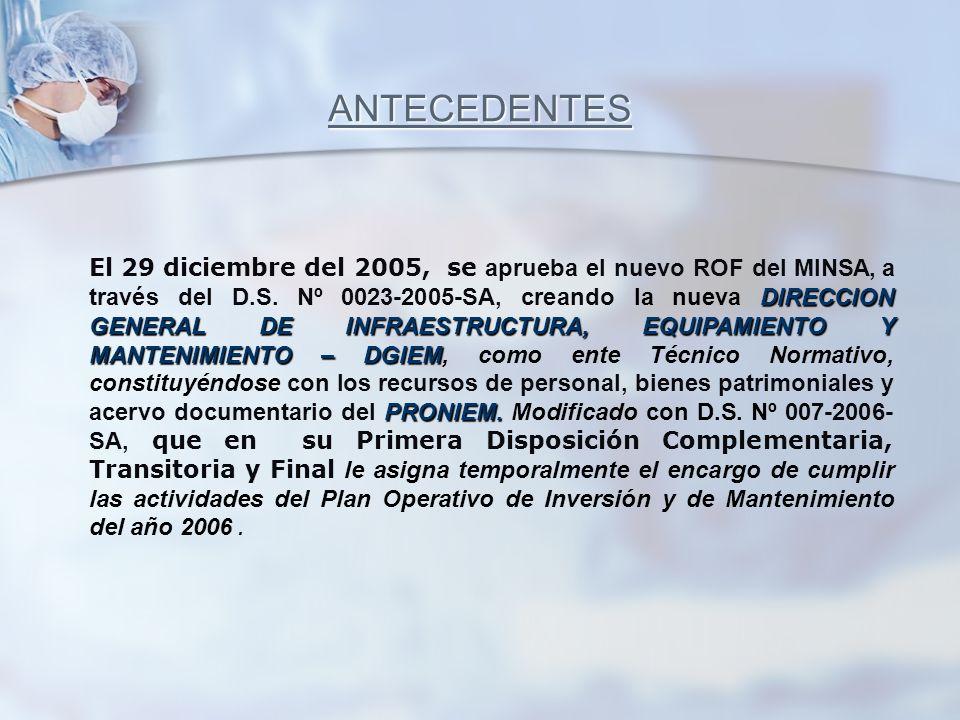 DIRECCION GENERAL DE INFRAESTRUCTURA, EQUIPAMIENTO Y MANTENIMIENTO – DGIEM PRONIEM. El 29 diciembre del 2005, se aprueba el nuevo ROF del MINSA, a tra