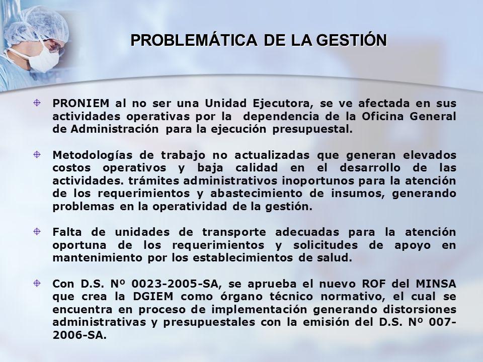 PROBLEMÁTICA DE LA GESTIÓN PRONIEM al no ser una Unidad Ejecutora, se ve afectada en sus actividades operativas por la dependencia de la Oficina Gener