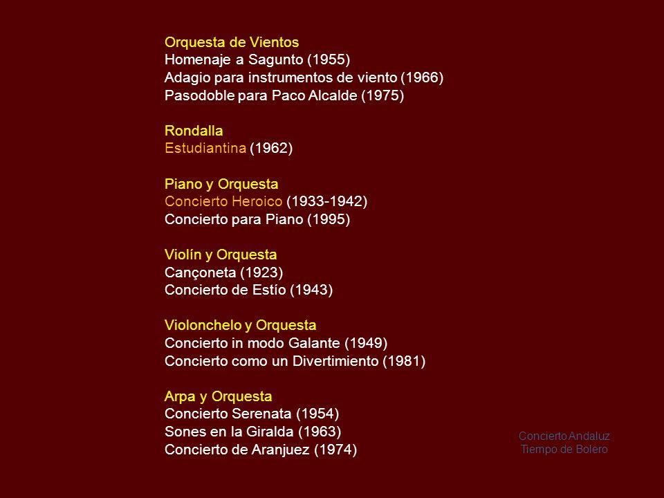 Rodrigo compuso 24 obras para guitarra 40 obras orquestales, 21 obras para piano a dos manos y 78 obras vocales.
