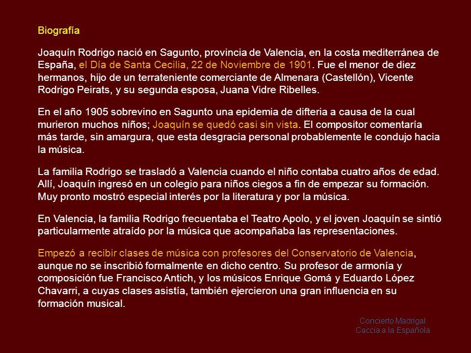 Guitarra y Orquesta Concierto de Aranjuez (1939) Fantasía para un Gentilhombre (1954) Concierto Madrigal (1966) Concierto Andaluz (1967) Concierto para una Fiesta (1982) Sones en la Giralda (1993) Flauta y Orquesta Concierto Pastoral (1978) Fantasía para un Gentilhombre (1978) Aria Antigua (1998) Después de Regino Sainz de la Maza, los grandes intérpretes de la música de Rodrigo han sido: Narciso Yepes, José Romero y Paco de Lucía.