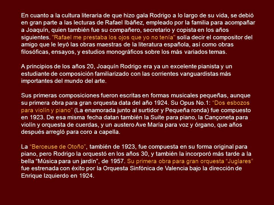 Biografía Joaquín Rodrigo nació en Sagunto, provincia de Valencia, en la costa mediterránea de España, el Día de Santa Cecilia, 22 de Noviembre de 1901.