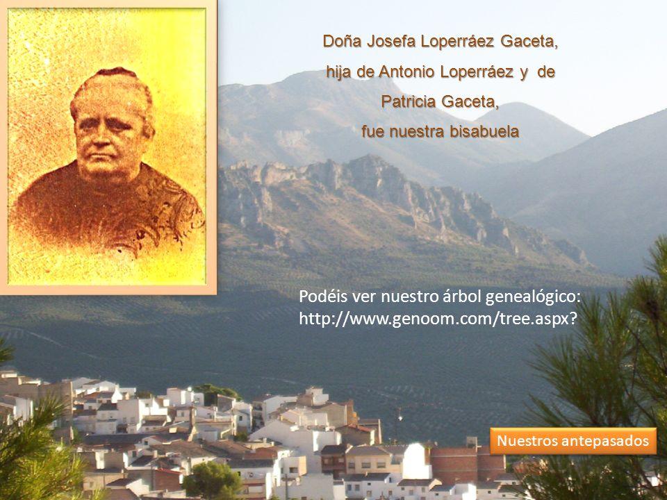 Doña Josefa Loperráez Gaceta, hija de Antonio Loperráez y de Patricia Gaceta, fue nuestra bisabuela Nuestros antepasados Podéis ver nuestro árbol genealógico: http://www.genoom.com/tree.aspx?