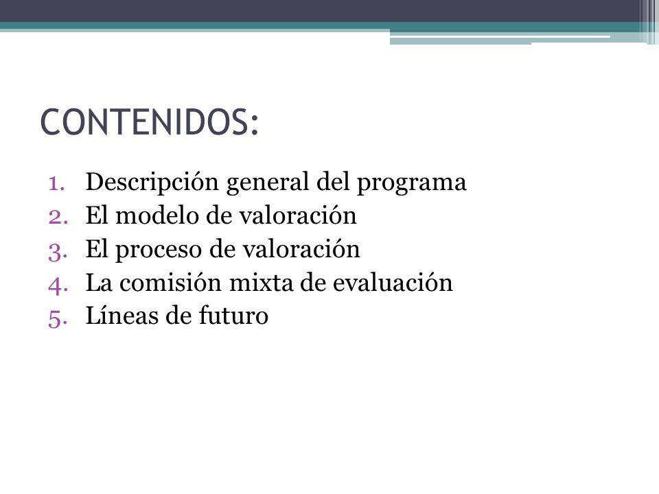 CONTENIDOS: 1.Descripción general del programa 2.El modelo de valoración 3.El proceso de valoración 4.La comisión mixta de evaluación 5.Líneas de futuro