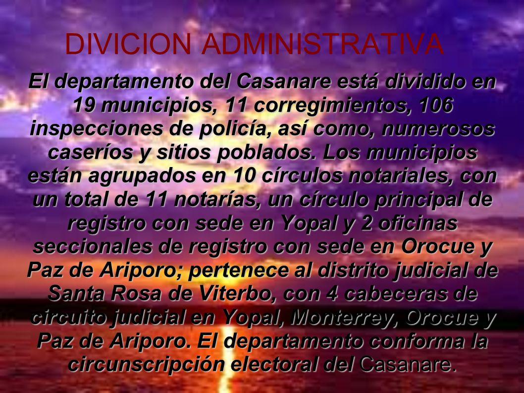 DIVICION ADMINISTRATIVA El departamento del Casanare está dividido en 19 municipios, 11 corregimientos, 106 inspecciones de policía, así como, numeros