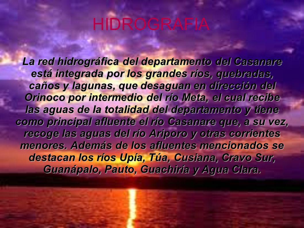 HIDROGRAFIA La red hidrográfica del departamento del Casanare está integrada por los grandes ríos, quebradas, caños y lagunas, que desaguan en direcci