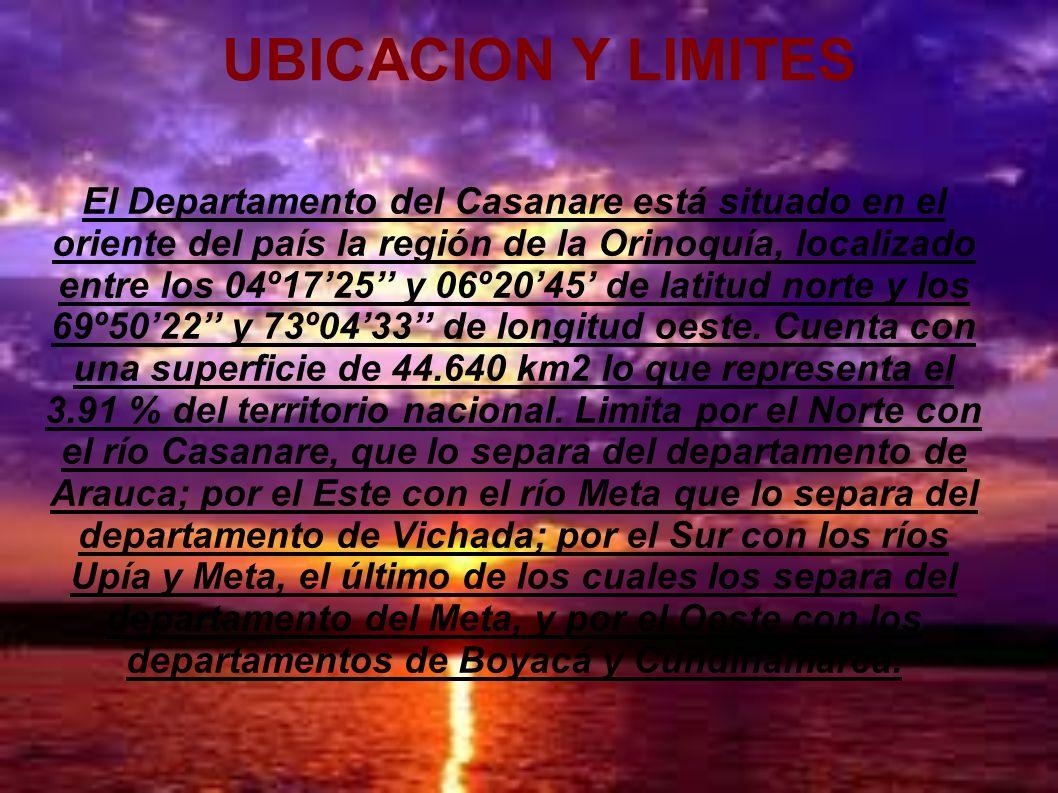 UBICACION Y LIMITES El Departamento del Casanare está situado en el oriente del país la región de la Orinoquía, localizado entre los 04º1725 y 06º2045
