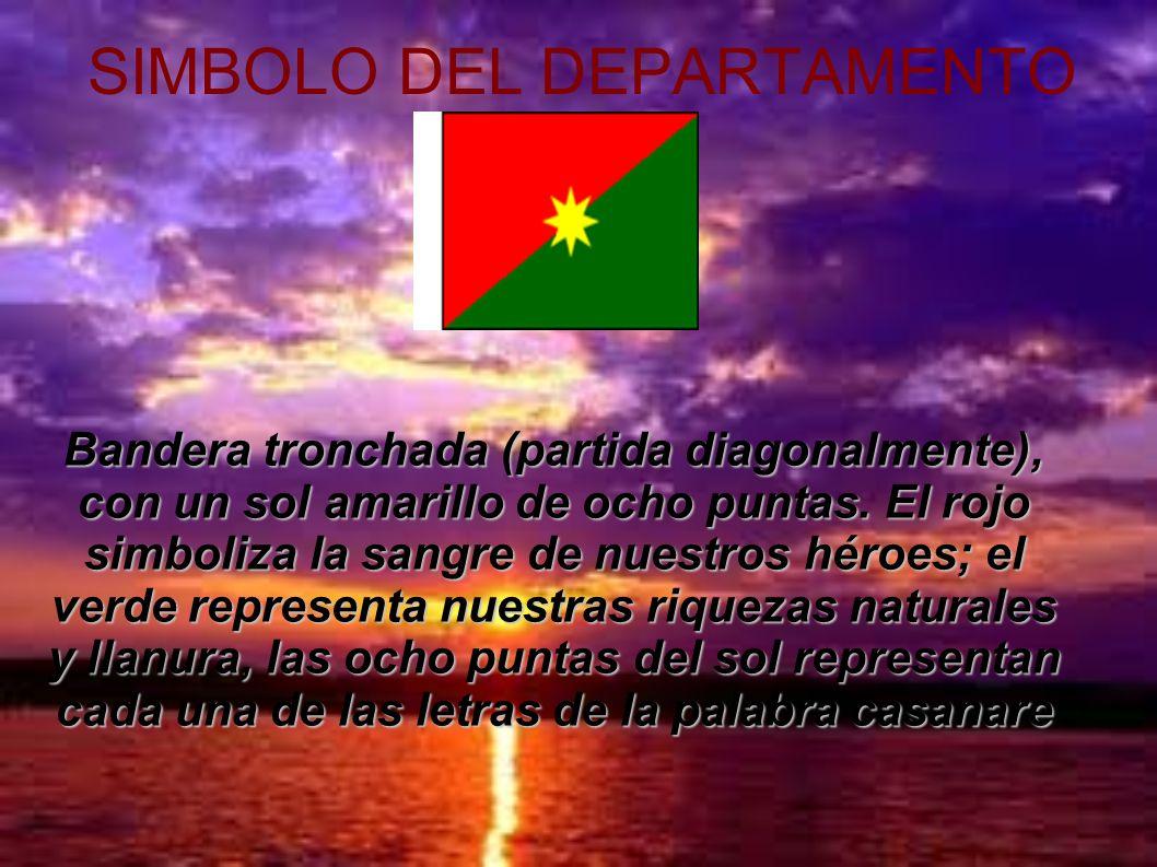 SIMBOLO DEL DEPARTAMENTO Bandera tronchada (partida diagonalmente), con un sol amarillo de ocho puntas. El rojo simboliza la sangre de nuestros héroes
