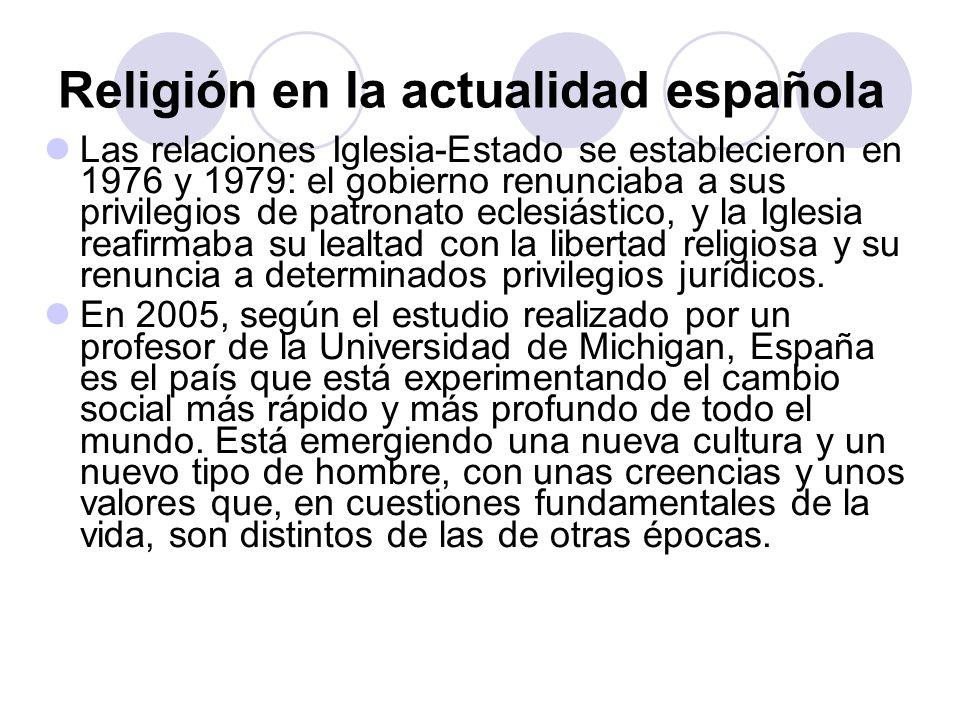 Religión en la actualidad española Las relaciones Iglesia-Estado se establecieron en 1976 y 1979: el gobierno renunciaba a sus privilegios de patronat