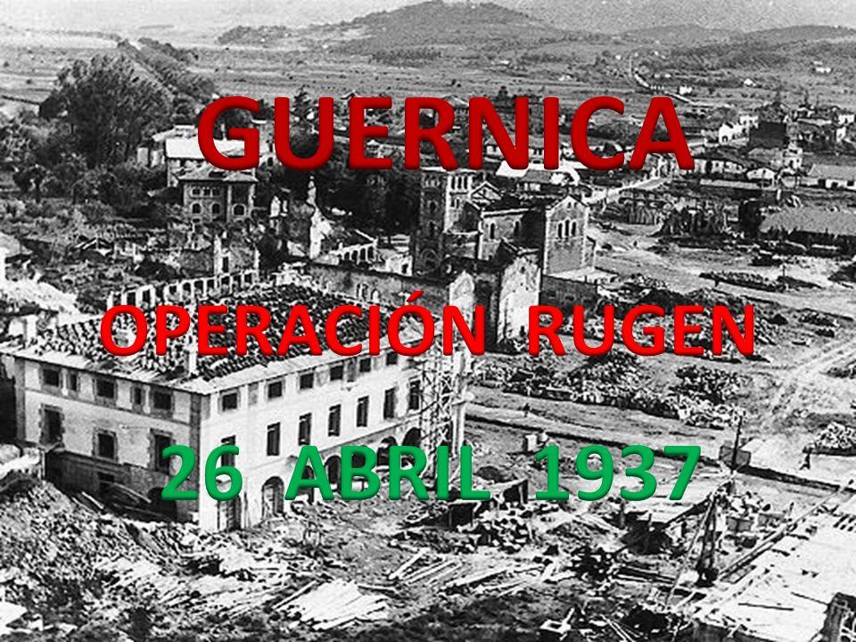 Durante la Guerra Civil Espa ñ ola (1936 – 1939), el 26 de abril de 1937 (hace 75 a ñ os) a las cuatro y media de la tarde en el pueblo de Guernica, Espa ñ a, que cuenta con unos 5000 habitantes, m á s gran n ú mero de contingentes republicanos que se retiran para preparar la defensa de Bilbao, adem á s de refugiados que huyen del avance de las tropas franquista, aviones pertenecientes a la Legi ó n C ó ndor alemana y a la Savola italiana, bombardean y ametrallan la poblaci ó n.