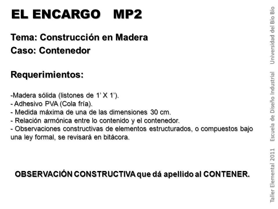 EL ENCARGO MP2 Tema: Construcción en Madera Caso: Contenedor Requerimientos: -Madera sólida (listones de 1 X 1).